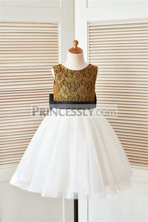 gold lace ivory tulle flower dress with black belt