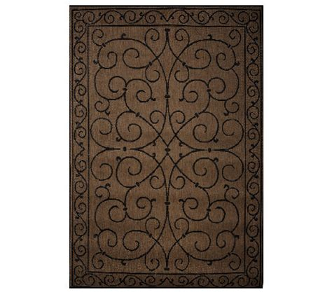 Qvc Outdoor Rugs Veranda Living 5x7 Reversible Scroll Design Indoor Outdoor Rug Qvc