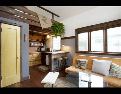 airbnb tiny house oregon a view of the kitchen inside the rustic modern tiny house