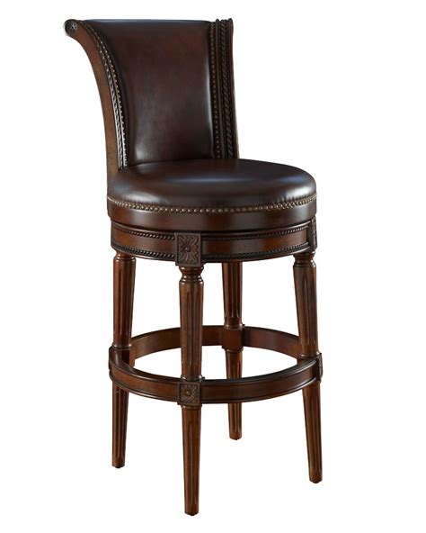 Counter Bar Stools Brown Leather Swivel Bar Stool Collection W Decorative