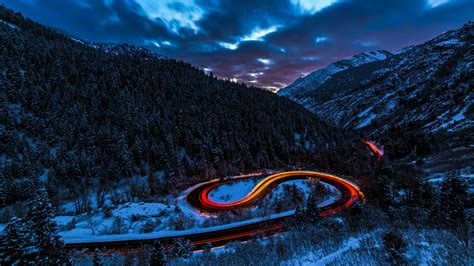 car 5k wallpaper exposure lights road forest snow 5k hd photography