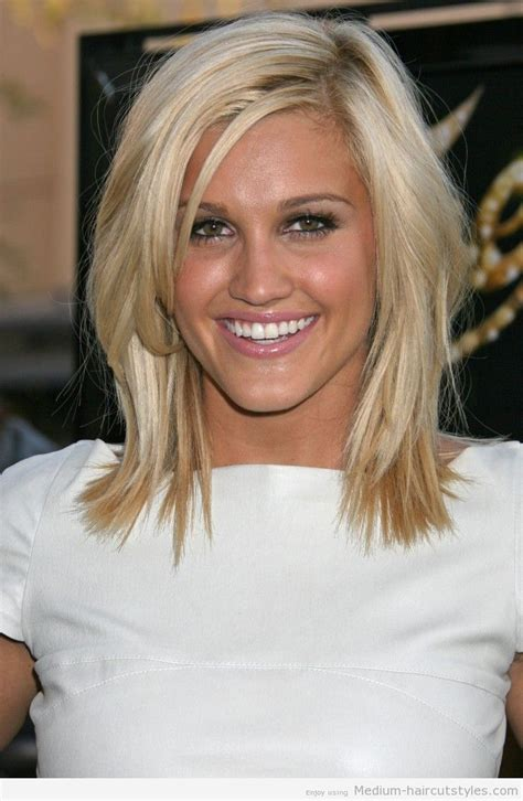 Medium length hairstyle side part choppy layers for fine hair women