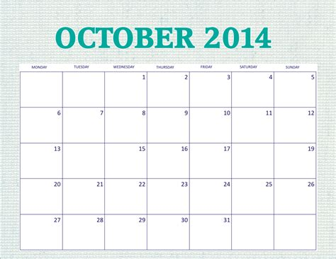 8 best images of printable monthly calendar october 2014