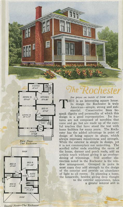 1920 house plans 1920 aladdin foursquare kit house the rochester