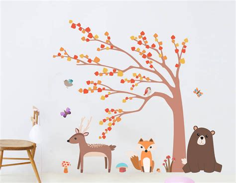 children wall sticker children s woodland animal and tree wall sticker set