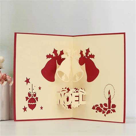 Craft Paper Card - 3d pop up greeting card table merry postcard