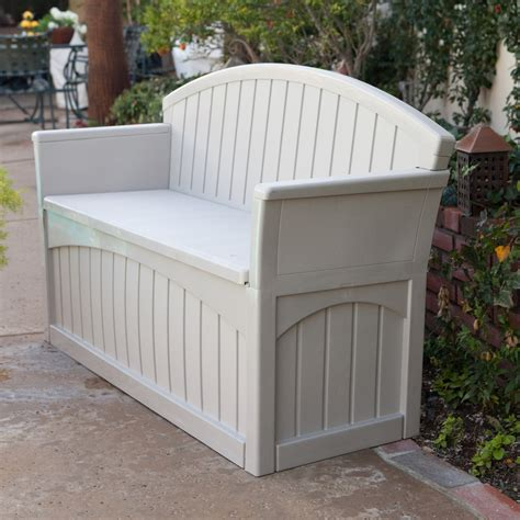 storage bench for outside suncast ultimate 50 gallon resin patio storage bench pb6700 outdoor benches at