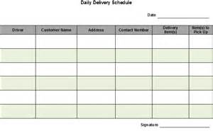 material delivery schedule template best photos of daily schedule form template free