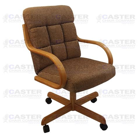 Dining Chair On Casters Casual Caster Dining Arm Chair Swivel Tilt Oak Wood Set Of 2 Ebay