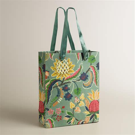 Handmade Gift Bag - large gray henry floral handmade gift bag world market