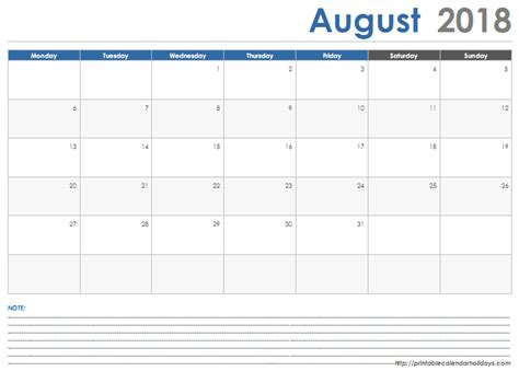printable monthly calendar with space for notes august 2018 calendar with space note printable 2017 calendar