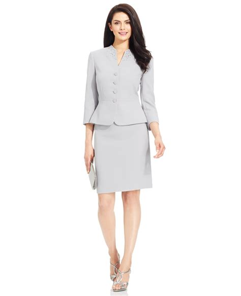 how to choose a petite dress to suit you tahari petite embellished collarless skirt suit in gray lyst