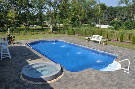 Patio And Pool Hardscapes by In Ground Pool Featuring A Vinyl Liner Spa Deck Jets And
