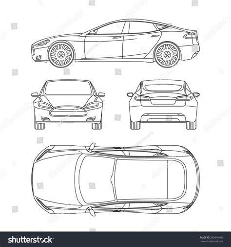 car line draw blueprint front four stock vector 343640963