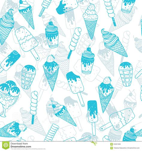 doodle ice cream pattern vector ice cream background stock vector image 55951608