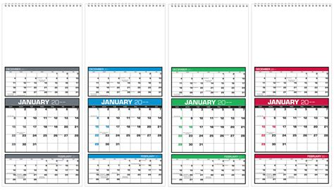 Calendar 3 Month View 2017 Custom Three Month View Calendar 7 Quot W X 16 Quot H Custom
