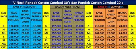 Kaos Oblong Catton Combed Unisex Grosir Sablon 3 tempat grosir kaos polos murah dekat cijantung pasar rebo