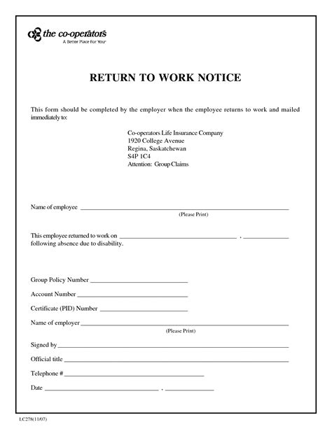 return to work slip template certification form fmla choice image standard