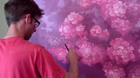 Sunset Wall Mural painting a cherry blossom tree mural joe youtube