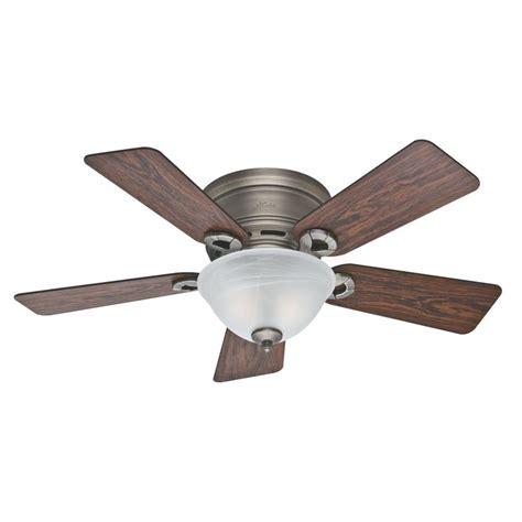 Shop Hunter Conroy 42 In Antique Pewter Flush Mount Flush Mount Ceiling Fan Light