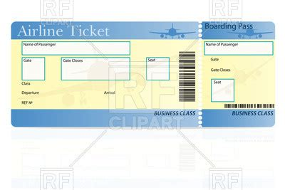 Airline Ticket Template Vector Image Vector Artwork Of Objects 169 Konturvid 67530 Rfclipart Plane Ticket Template