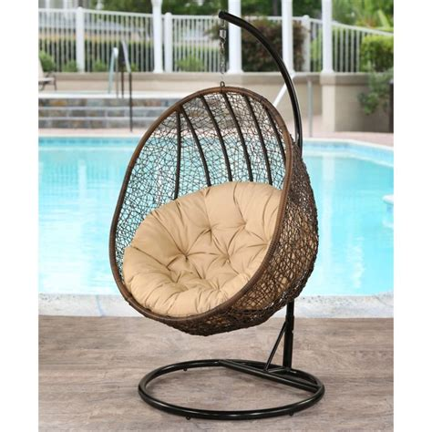 wicker outdoor swing abbyson living kinsley outdoor wicker swing chair in