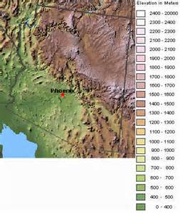 arizona elevation map arizona topographic map