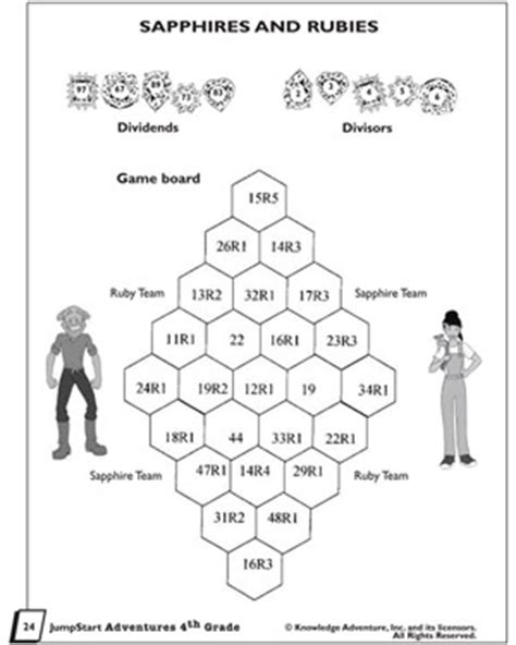 printable division games for 4th grade sapphires and rubies printable division problems and