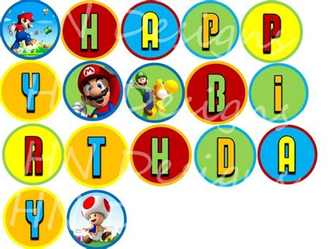 printable mario banner brothers birthday clipart 26