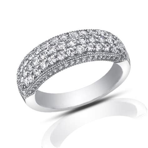 wedding bands pave 1 00 ct pave set cut wedding band ring