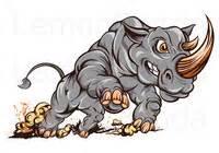 Cartoon charging rhino entry 23 by lemonpanda for illustrate