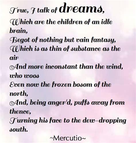 romeo and juliet dream theme best loved literary quotes mercutio true i talk of dreams