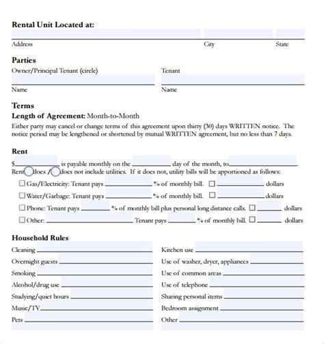 rental agreement template word doc room rental agreement 17 free documents in pdf