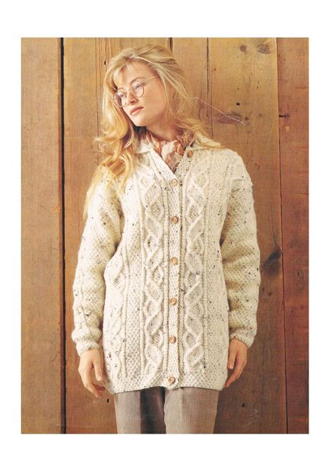 vintage pattern lady ladies aran cardigan knitting pattern vintage pattern only