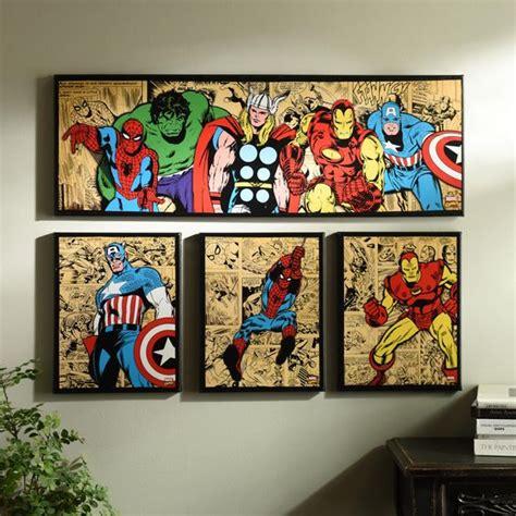 marvel heroes bedroom accessories marvel superheroes canvas art prints set of 4 superhero