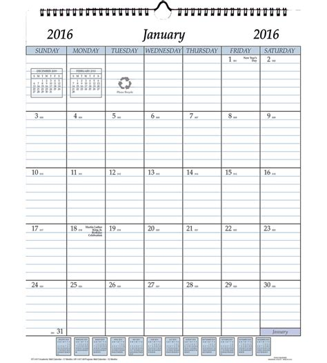 2016 monthly wall planner printable write in calendars autos post