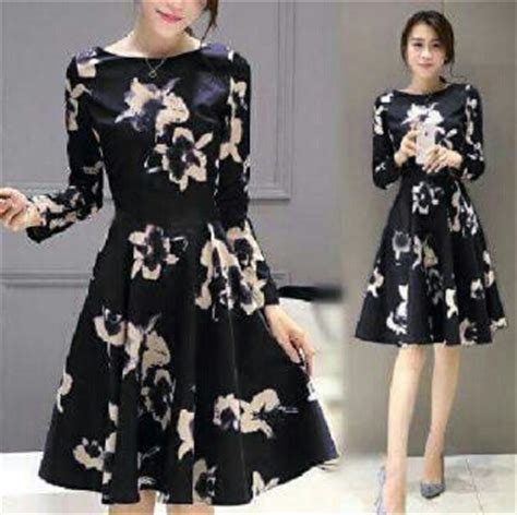 Baju Box Dress pin korea murah gaun panjang ala jual dress on