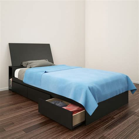 Platform Bed With Mattress Included Shop Nexera Avenue Black Platform Bed With Bed Storage At Lowes