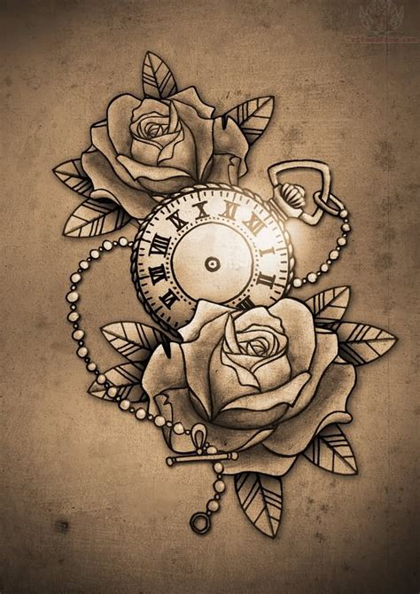 time clock tattoo designs clock and roses design