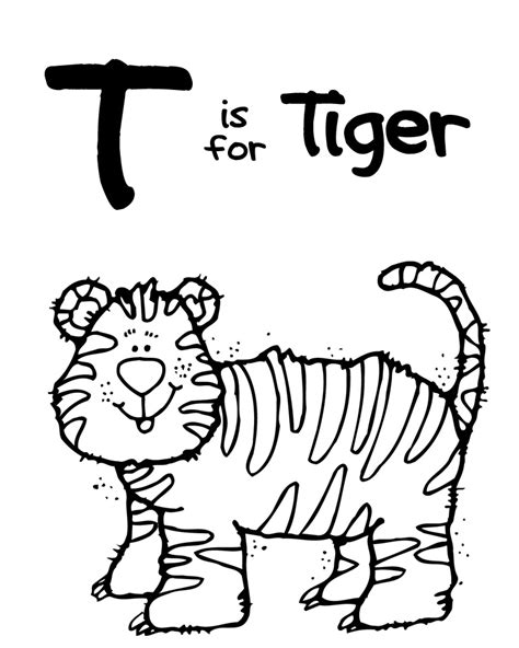 tiger t coloring page we love being moms letter t tiger