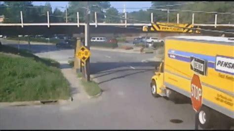 trucks crashing this of trucks crashing into a bridge is