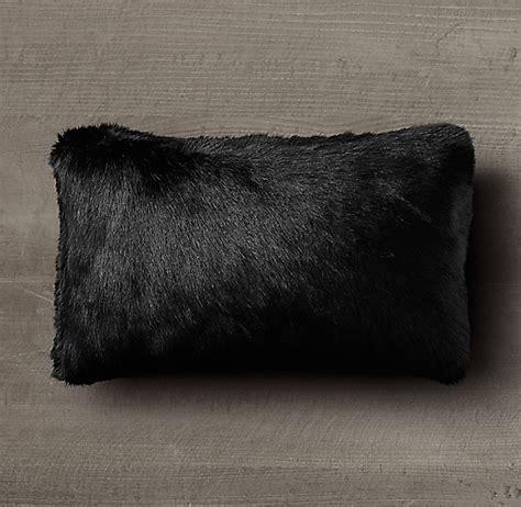 faux fur lumbar pillow ultra faux fur lumbar pillow cover black