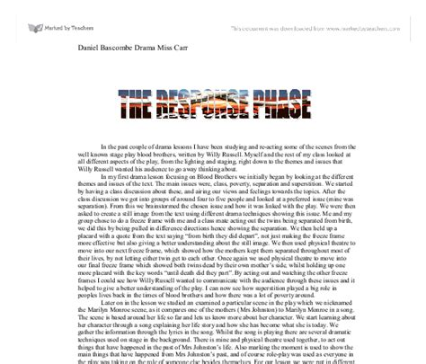 Blood Brothers Gcse Drama Essay by Gcse Drama Essay Blood Brothers Proofreadingdublin Web