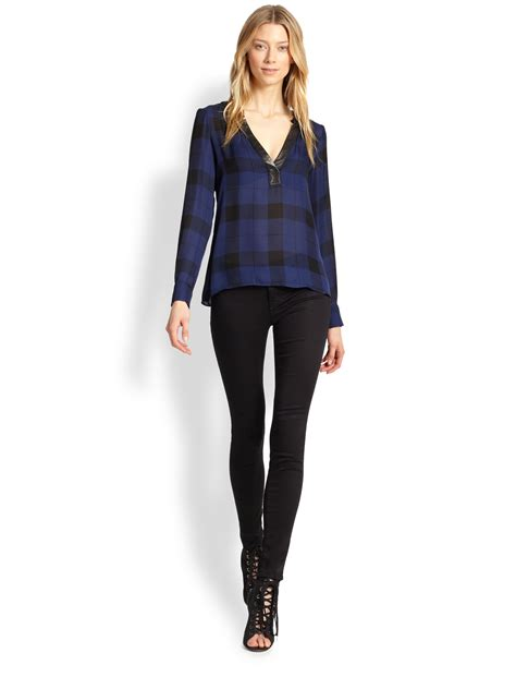 Hering Blue Leather Trim Blouse daniela leather trim silk georgette blouse in blue