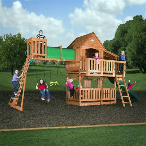 best backyard swing sets woodridge ii cedar play set by backyard discovery
