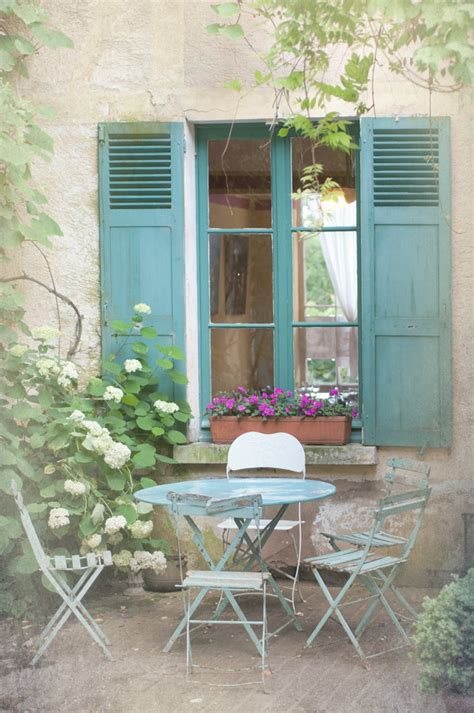 french country windows french country photography blue bistro table chairs shutters cottage window giverny