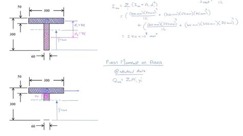 cross section moment of inertia cross sectional properties first moment of area ex 5 1