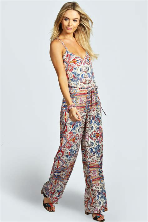 swing jumpsuit boohoo womens rhian paisley strappy back swing