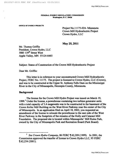 Cancellation Letter Of Work Permit Ferc Termination Letter To Crown Hydro