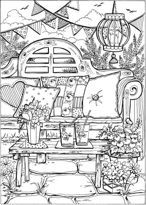 coloring pages of garden scene creative haven summer scenes coloring book dover